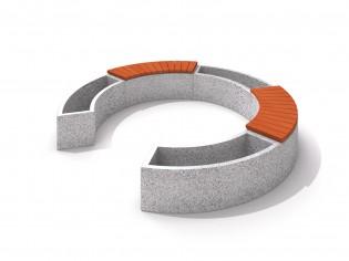 Donica betonowa zestaw z ławką 02