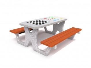 Betonowy stół do gry w szachy / warcaby / chińczyka 02