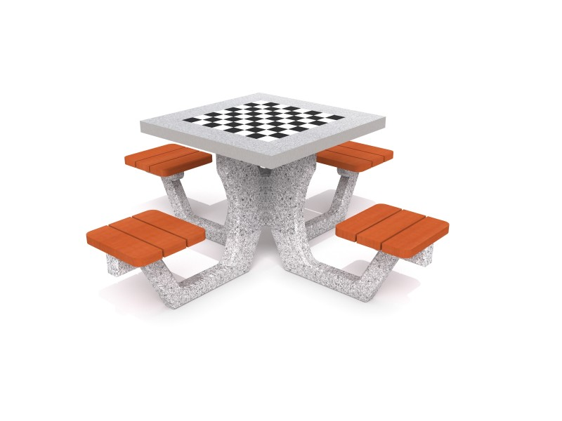 Betonowy stół do gry w szachy / warcaby 01 Plac zabaw tables-Concrete table for chess - checkers 01