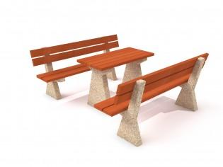 Stół betonowy z ławkami 02
